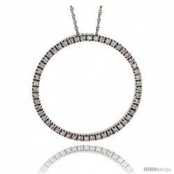 "14k White Gold 18"" Chain & 1"" (26mm) Circle of Life Diamond Pendant, w/ 0.40 Carat Brilliant Cut Diamonds"