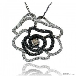 "14k White Gold 18"" Box Chain & 3/4"" (19mm) tall Flower Diamond Pendant, w/ 0.70 Carat Brilliant Cut White, Black & Fancy Brown"