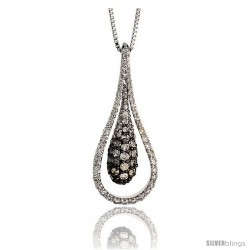 "14k White Gold 18"" Chain & 1 3/16"" (30mm) tall Teardrop Diamond Pendant, w/ 1.00 Carat Brilliant Cut Diamonds"