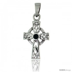"Sterling Silver Small Trinity Celtic Cross Pendant w/ Single Black CZ, w/ 18"" Thin Box Chain -Style Pcz1035"