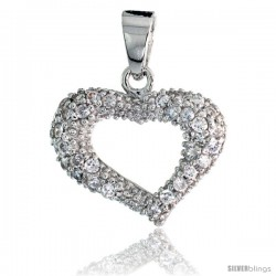 "Sterling Silver Heart Pendant w/ Pave CZ Stones, 5/8"" (16 mm) tall"