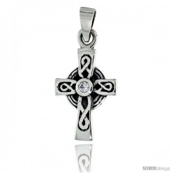 "Sterling Silver Infinity Loop Celtic Cross Pendant w/ Single Clear CZ, w/ 18"" Thin Box Chain"
