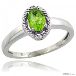 Sterling Silver Diamond Halo Natural Peridot Ring 0.75 Carat Oval Shape 6X4 mm, 3/8 in (9mm) wide