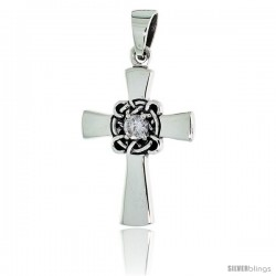 "Sterling Silver Celtic Center Cross Pendant w/ Single Clear CZ, w/ 18"" Thin Box Chain"