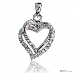 "Sterling Silver Double Heart Pendant w/ Pave CZ Stones, 13/16"" (21 mm) tall"
