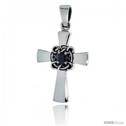 "Sterling Silver Celtic Center Cross Pendant w/ Single Black CZ, w/ 18"" Thin Box Chain"