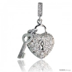 "Sterling Silver Heart Shape Lock & Key Pendant w/ Pave CZ Stones, 1 3/16"" (30 mm) tall"