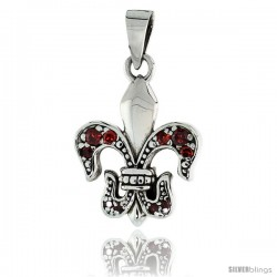 "Sterling Silver Fleur de Lys Pendant w/ Red CZ Stones, w/ 18"" Thin Box Chain"