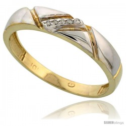 10k Yellow Gold Mens Diamond Wedding Band Ring 0.03 cttw Brilliant Cut, 3/16 in wide -Style 10y012mb