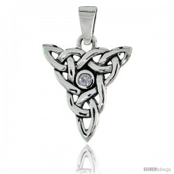 "Sterling Silver Triquetra Knot Celtic Pendant w/ Single Clear CZ, w/ 18"" Thin Box Chain"