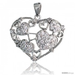 "Sterling Silver Hearts Pendant w/ Pave CZ Stones, 7/8"" (23 mm) tall"