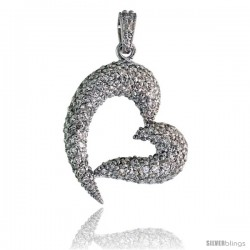 "Sterling Silver Fancy Heart Pendant w/ Pave CZ Stones, 1 7/16"" (36 mm) tall"