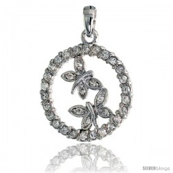 "Sterling Silver Double Butterfly Pendant w/ Pave CZ Stones, 1"" (25 mm) tall"