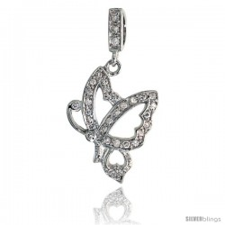 "Sterling Silver Butterfly Pendant w/ Pave CZ Stones, 1 7/16"" (37 mm) tall"