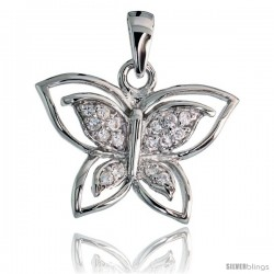 "Sterling Silver Butterfly Pendant w/ Pave CZ Stones, 11/16"" (17 mm) tall"