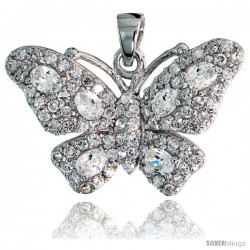 "Sterling Silver Butterfly Pendant w/ Pave CZ Stones, 3/4"" (19 mm) tall"