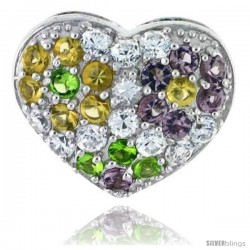Sterling Silver Heart Pendant, w/ Brilliant Cut Clear, Amethyst-colored, Peridot-colored & Yellow Topaz-colored CZ Stones