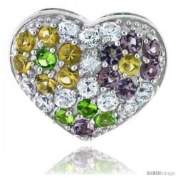 Sterling Silver Heart Pendant, w/ Brilliant Cut Clear, Amethyst-colored, Peridot-colored & Yellow Topaz-colored CZ Stones