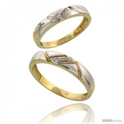 10k Yellow Gold Diamond Wedding Rings 2-Piece set for him 4.5 mm & Her 4 mm 0.05 cttw Brilliant Cut