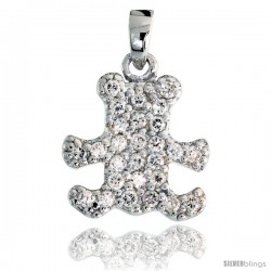 "Sterling Silver Small Teddy Bear Pendant w/ Pave CZ Stones, 9/16"" (15 mm) tall"