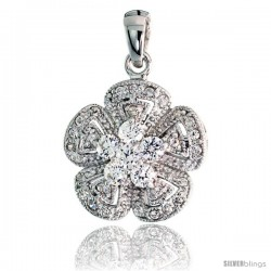 "Sterling Silver Flower Pendant w/ Pave CZ Stones, 13/16"" (21 mm) tall"