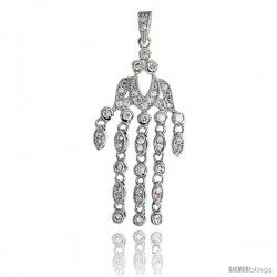 "Sterling Silver Chandelier Pendant w/ Pave CZ Stones, 1 15/16"" (49 mm) tall"