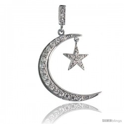 "Sterling Silver Crescent Moon & Star Pendant w/ Pave CZ Stones, 1 7/16"" (37mm) tall"