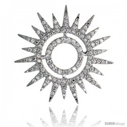 "Sterling Silver Sunburst Slider Pendant w/ Pave CZ Stones, 1 9/16"" (40 mm) tall"