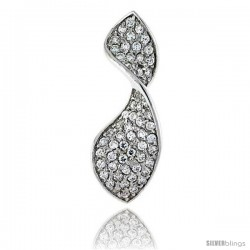 "Sterling Silver Swirl Pendant, w/ Brilliant Cut CZ Stones, 1 3/8"" (36 mm) tall, w/ 18"" Thin Snake Chain"