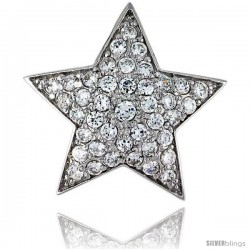 "Sterling Silver Solid Star Pendant, w/ Brilliant Cut CZ Stones, 15/16"" (24 mm) tall, w/ 18"" Thin Snake Chain"