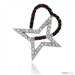 "Sterling Silver Freeform ""Heart & Star Cut Outs"" Pendant, w/ Brilliant Cut Clear & Ruby-colored CZ Stones, 1 1/4"" (31 mm) tall"