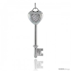 "Sterling Silver Jeweled Key-To-My-Heart CZ Pendant, 2 3/16"" (55 mm) tall"