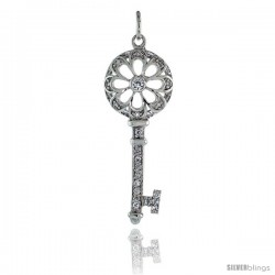 "Sterling Silver Jeweled Flower Cut Out Key Pendant w/ CZ Stones, 1 11/16"" (43 mm) tall"