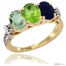 10K Yellow Gold Natural Green Amethyst, Peridot & Lapis Ring 3-Stone Oval 7x5 mm Diamond Accent