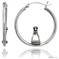 "Sterling Silver Stirrup Hoop Earrings, 1 1/8"" (28 mm)"