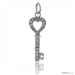 "Sterling Silver Jeweled Key-To-My-Heart CZ Pendant, 1 1/8"" (28 mm) tall"