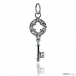 "Sterling Silver Jeweled Clover Cut Out Key Pendant w/ CZ Stones, 1 1/8"" (29 mm) tall"