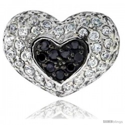 "Sterling Silver Heart Pendant, w/ Brilliant Cut Clear & Black CZ Stones, 9/16"" (14 mm) tall, w/ 18"" Thin Snake Chain"