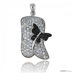 "Sterling Silver Dragonfly Pendant, w/ Brilliant Cut Clear & Black CZ Stones, 1 1/4"" (31 mm) tall, w/ 18"" Thin Snake Chain"