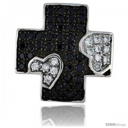 "Sterling Silver Greek Cross Pendant w/ Heart Design, w/ Brilliant Cut Clear & Black CZ Stones, 1 1/16"" (27 mm) tall, w/ 18"""