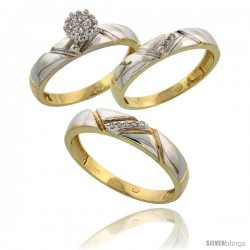 10k Yellow Gold Diamond Trio Engagement Wedding Ring 3-piece Set for Him & Her 4.5 mm & 4 mm wide 0.10 cttw Brilliant Cut