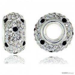 Sterling Silver Crystal Bead Charm White & Black Color w/ Swarovski Elements, 13 mm