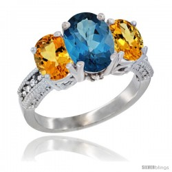 14K White Gold Ladies 3-Stone Oval Natural London Blue Topaz Ring with Citrine Sides Diamond Accent