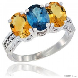 14K White Gold Natural London Blue Topaz & Citrine Sides Ring 3-Stone 7x5 mm Oval Diamond Accent