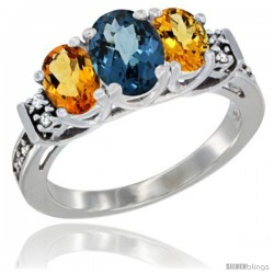14K White Gold Natural London Blue Topaz & Citrine Ring 3-Stone Oval with Diamond Accent