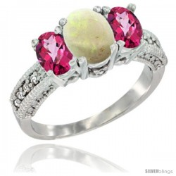 10K White Gold Ladies Oval Natural Opal 3-Stone Ring with Pink Topaz Sides Diamond Accent