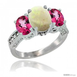 10K White Gold Ladies Natural Opal Oval 3 Stone Ring with Pink Topaz Sides Diamond Accent