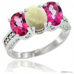 10K White Gold Natural Opal & Pink Topaz Sides Ring 3-Stone Oval 7x5 mm Diamond Accent