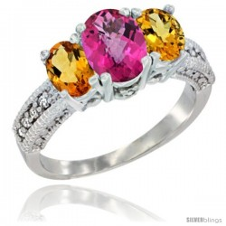 14k White Gold Ladies Oval Natural Pink Topaz 3-Stone Ring with Citrine Sides Diamond Accent