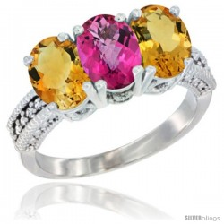 14K White Gold Natural Pink Topaz & Citrine Sides Ring 3-Stone 7x5 mm Oval Diamond Accent